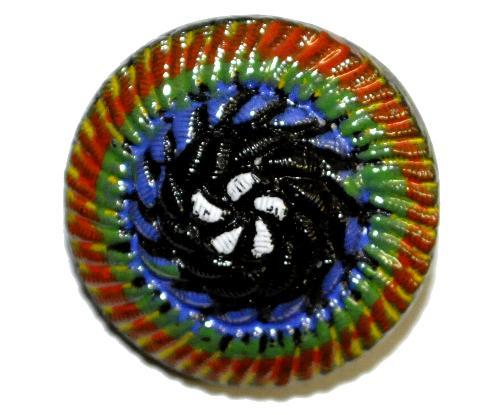 Best.Nr.:43141 Glasknopf, handgefertigt, handbemalt  In Gablonz / Böhmen hergestellt.  (nur einmal auf Lager)