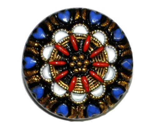 Best.Nr.:43142 Glasknopf, handgefertigt, handbemalt In Gablonz / Böhmen hergestellt.