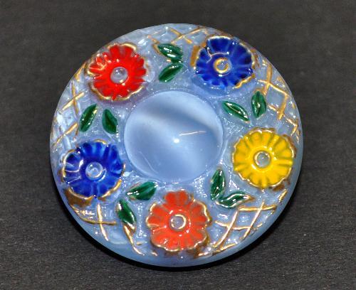 Best.Nr.:43143 Glasknopf, handbemalt  In Gablonz / Tschechien hergestellt  (nur wenige auf Lager)