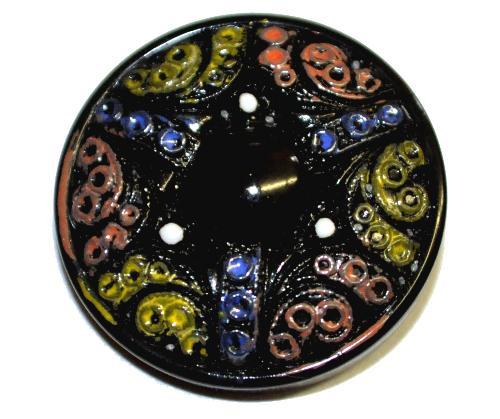 Best.Nr.:43145 Glasknopf, handgefertigt, handbemalt  In Gablonz / Böhmen hergestellt.  (nur einmal auf Lager)
