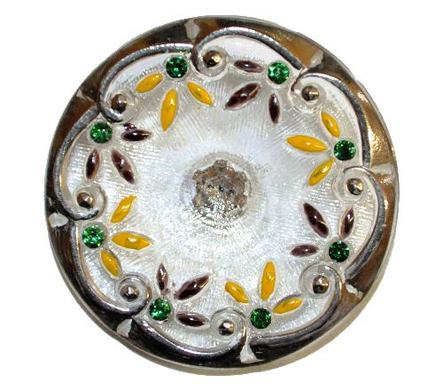 Best.Nr.:43146  Glasknopf, handgefertigt, handbemalt  In Gablonz / Böhmen hergestellt.  (nur wenige auf Lager)