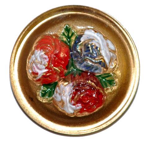 Best.Nr.:43161  Glasknopf, handbemalt  In Gablonz / Tschechien hergestellt  (nur wenige auf Lager)