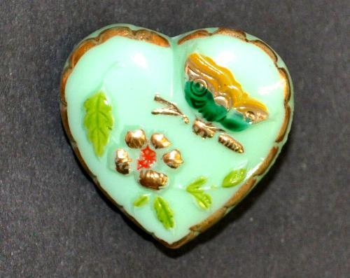 Best.Nr.:43164  Glasknopf, Uranglas, handgefertigt, handbemalt In Gablonz / Böhmen hergestellt.  (nur wenige auf Lager)