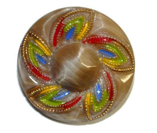 Best.Nr.:43170 Glasknopf, handgefertigt, handbemalt  In Gablonz / Böhmen hergestellt.  (nur einmal auf Lager)