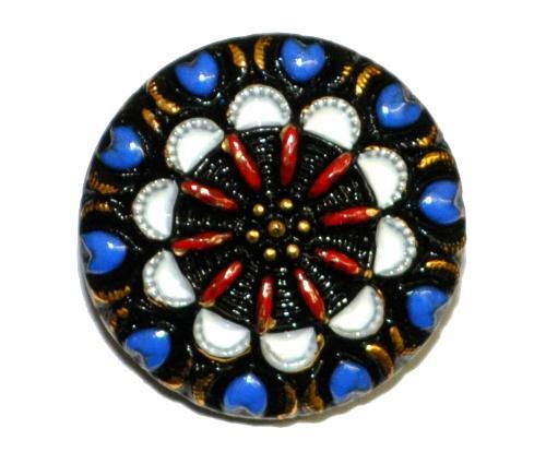 Best.Nr.:43182 Glasknopf, handgefertigt, handbemalt In Gablonz / Böhmen hergestellt.  (nur einmal auf Lager)