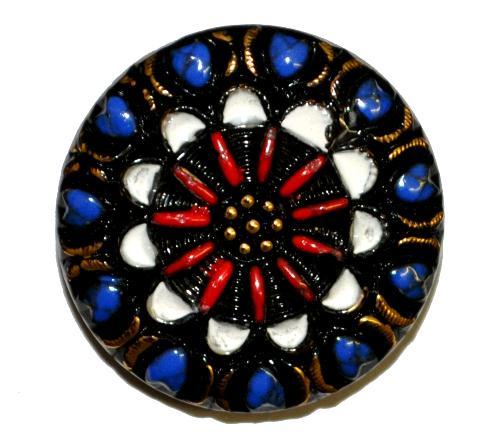 Best.Nr.:43191 Glasknopf, handgefertigt, handbemalt In Gablonz / Böhmen hergestellt.  (nur wenige auf Lager)