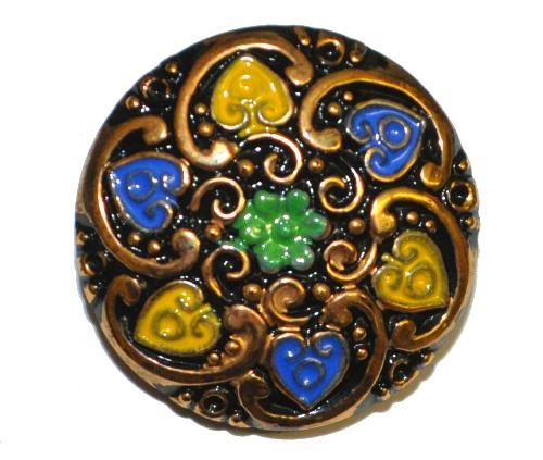 Best.Nr.:43192 Glasknopf, handgefertigt, handbemalt In Gablonz / Böhmen hergestellt.  (nur einmal auf Lager)