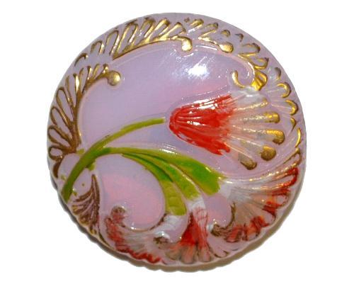Best.Nr.:43197  Glasknopf, handgefertigt, handbemalt In Gablonz / Böhmen hergestellt.  (nur einmal auf Lager)