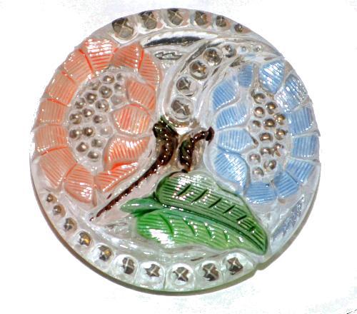 Best.Nr.:43216 Glasknopf, handbemalt  In Gablonz / Tschechien hergestellt  (nur einmal auf Lager)