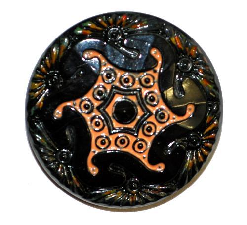 Best.Nr.:43236 Glasknopf, handgefertigt, handbemalt In Gablonz / Böhmen hergestellt.  (nur wenige auf Lager)