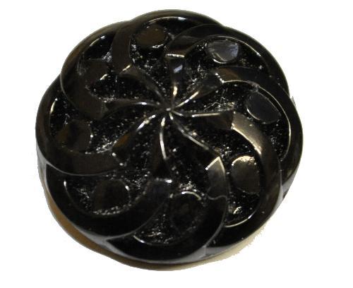 Best.Nr.:43245 Glasknopf schwarz, handgefertigt,  In Gablonz / Böhmen hergestellt.  (nur einmal auf Lager)