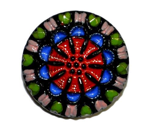 Best.Nr.:43250 Glasknopf, handgefertigt, handbemalt In Gablonz / Böhmen hergestellt