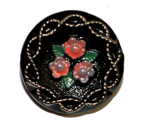 Best.Nr.:43258 Glasknopf, handgefertigt, handbemalt In Gablonz / Böhmen hergestellt  (nur wenige auf Lager)