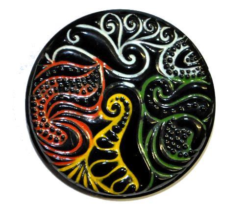 Best.Nr.:43259 Glasknopf, handgefertigt, handbemalt  In Gablonz / Böhmen hergestellt.  (nur wenige auf Lager)