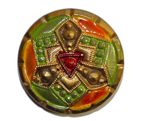 Best.Nr.:43262 Glasknopf, handgefertigt, handbemalt  In Gablonz / Böhmen hergestellt.  (nur einmal auf Lager)