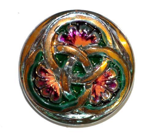 Best.Nr.:43263 Glasknopf, handgefertigt, handbemalt In Gablonz / Böhmen hergestellt.  (nur einmal auf Lager)
