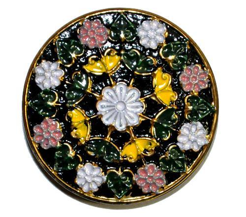 Best.Nr.:43334 Glasknopf, handgefertigt, handbemalt  In Gablonz / Böhmen hergestellt.  (nur wenige auf Lager)