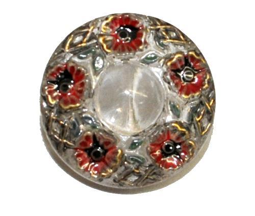 Best.Nr.:43336 Glasknopf, handgefertigt, handbemalt In Gablonz / Böhmen hergestellt.  (nur einmal auf Lager)