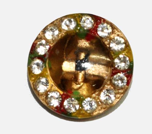 Best.Nr.:43337  Glasknopf, handgefertigt, handbemalt mit 14 eingelassenen Strasssteinchen  In Gablonz / Böhmen hergestellt.  (nur einmal auf Lager)