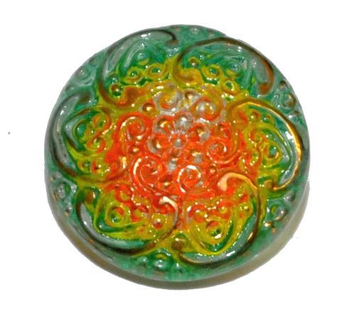 Best.Nr.:43343 Glasknopf, handgefertigt, handbemalt In Gablonz / Böhmen hergestellt.  (nur einmal auf Lager)