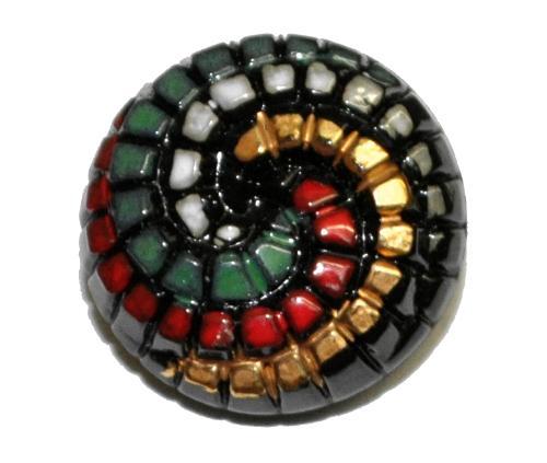 Best.Nr.:43344 Glasknopf, handgefertigt, handbemalt In Gablonz / Böhmen hergestellt.  (nur einmal auf Lager)