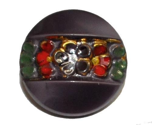 Best.Nr.:43346 Glasknopf, handgefertigt, handbemalt In Gablonz / Böhmen hergestellt.  (nur einmal auf Lager)