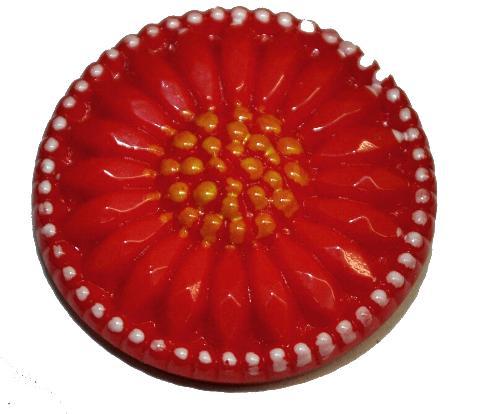 Best.Nr.:43351  Glasknopf, handbemalt  In Gablonz / Tschechien hergestellt  (nur einmal auf Lager)