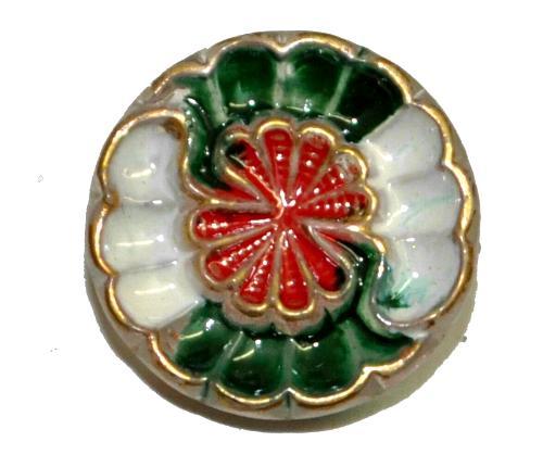 Best.Nr.:43357 Glasknopf, handgefertigt, handbemalt In Gablonz / Böhmen hergestellt.  (nur einmal auf Lager)