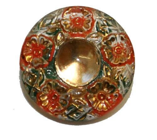 Best.Nr.:43360 Glasknopf, handgefertigt, handbemalt In Gablonz / Böhmen hergestellt.  (nur einmal auf Lager)