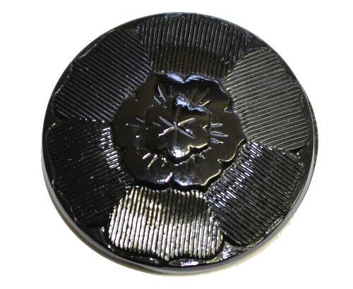 Best.Nr.:43372 Glasknopf schwarz, handgefertigt,  In Gablonz / Böhmen hergestellt.  (nur einmal auf Lager)