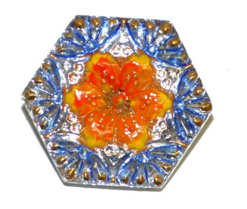 Best.Nr.:43387 Glasknopf, handgefertigt, handbemalt In Gablonz / Böhmen hergestellt.  (nur wenige auf Lager)