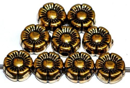 Best.Nr.:44003 Kunststoffperlen  Blüten metallic gold