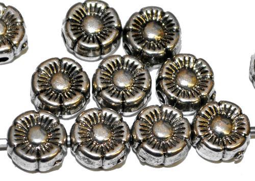 Best.Nr.:44006  Kunststoffperlen  Blüten metallic silber