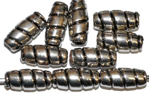 Best.Nr.:44007 Kunststoffperlen  Oliven metallic silber