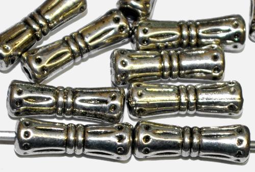 Best.Nr.:44016 Kunststoffperlen  zylindrisch metallic silber