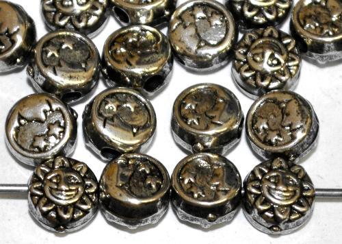 Best.Nr.:44022 Kunststoffperlen  Scheiben Mond und Sonne  metallic silber