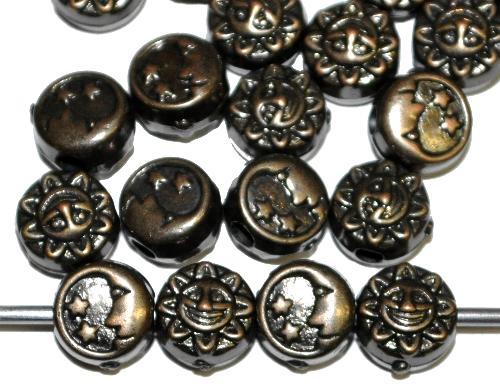 Best.Nr.:44023  Kunststoffperlen  Scheiben Mond und Sonne metallic bronze