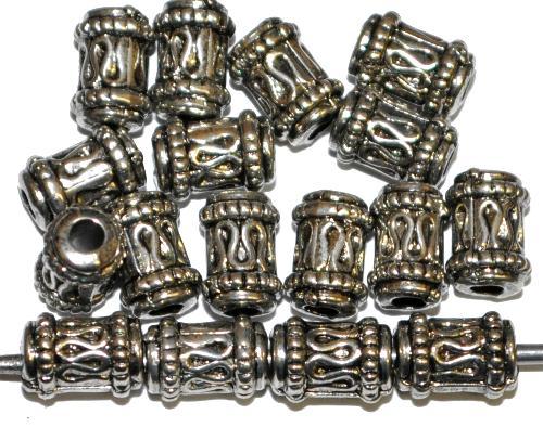 Best.Nr.:44030 Kunststoffperlen  zylindrisch metallic silber