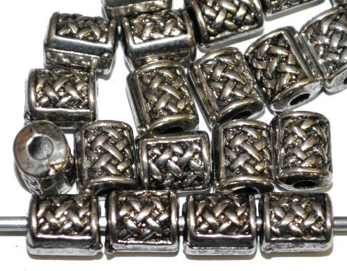 Best.Nr.:44032  Kunststoffperlen  zylindrisch metallic silber
