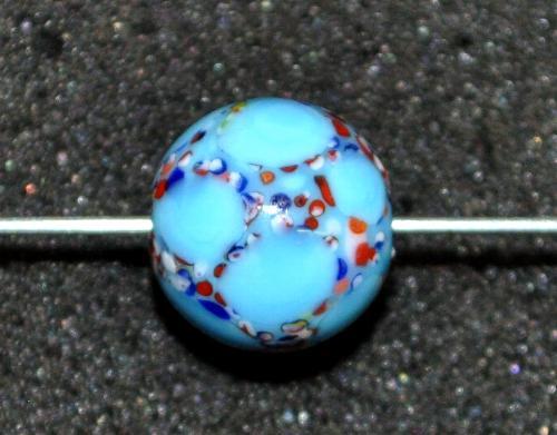 Best.Nr.:45127 Wickelglasperle rund, Einzelstück  in den 1930/1940 Jahren in Gablonz/Böhmen von Hand gefertigt