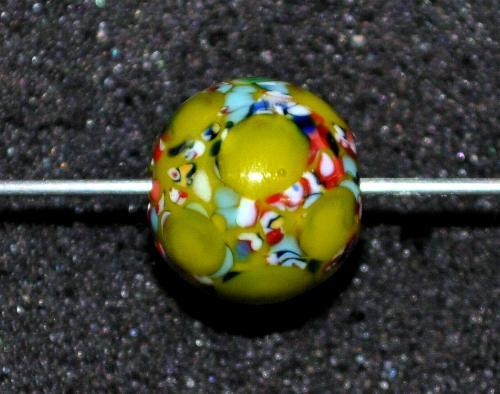 Best.Nr.:45161 Wickelglasperle rund, Einzelstück  in den 1930/1940 Jahren in Gablonz/Böhmen von Hand gefertigt
