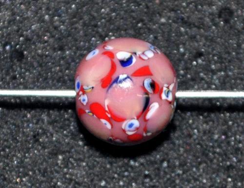 Best.Nr.:45165  Wickelglasperle rund, Einzelstück  in den 1930/1940 Jahren in Gablonz/Böhmen von Hand gefertigt