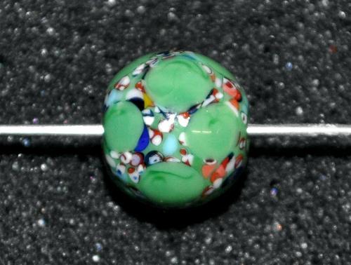 Best.Nr.:45168 Wickelglasperle rund, Einzelstück  in den 1930/1940 Jahren in Gablonz/Böhmen von Hand gefertigt