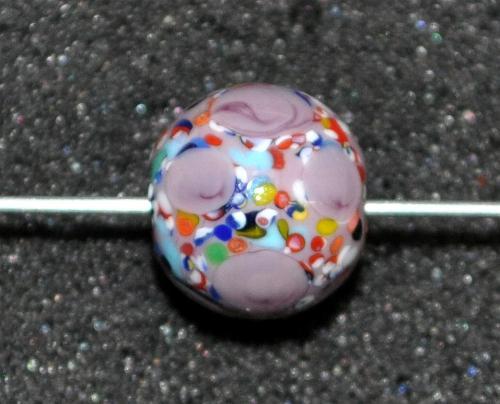 Best.Nr.:45194 Wickelglasperle rund, Einzelstück  in den 1930/1940 Jahren in Gablonz/Böhmen von Hand gefertigt