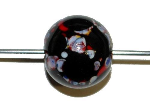Best.Nr.:45195 Wickelglasperle rund, Einzelstück  in den 1930/1940 Jahren in Gablonz/Böhmen von Hand gefertigt