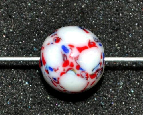 Best.Nr.:45200  Wickelglasperle rund, Einzelstück  in den 1930/1940 Jahren in Gablonz/Böhmen von Hand gefertigt