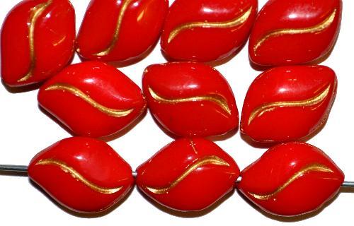 Best.Nr.:46001 Glasperlen Olive flach rot mit Goldauflage,  hergestellt in Gablonz / Tschechien,