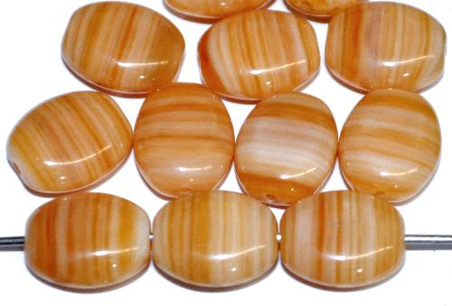 Best.Nr.:46002 Glasperlen Olive flach hellbraun beige marmoriert, hergestellt in Gablonz / Tschechien