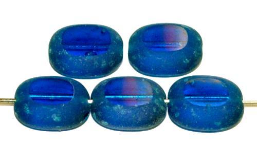Best.Nr.:46056 Glasperlen / Table Cut Beads Olive geschliffen montanablue transp., gecrasht, hergestellt in Gablonz / Tschechien