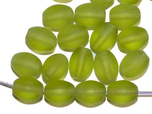 Best.Nr.:46067 Glasperlen Olive grün mattiert, hergestellt in Gablonz / Tschechien
